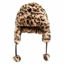 NEW Pottery Barn Faux Fur Trapper / Bomber Hat Cheetah Winter Cap PBTeen 1 Size
