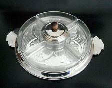 French Art Deco Etched Glass & Chrome Appetizer Set on Mirror Tray