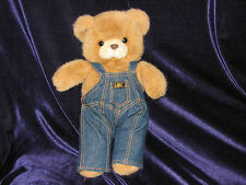HTF Vintage LEE JEANS Stuffed Animal Plush Promo Teddy BEAR Brown OVERALLS Denim