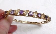 Vintage 2.69 TCW Amethyst Hinged Bangle Bracelet 14K Yellow Gold 13.8 Grams
