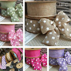40mm Wired Polka Dot or Plain Hessian Jute Ribbon. Wedding Vintage Shabby Floral