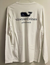 VINEYARD VINES - White PALM BEACH Whale Pocket Long Sleeve Shirt - LARGE