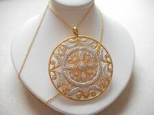 "Sterling Silver GF Sparkling Medallion Pendant 18"" Necklace   RE2505"