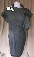 LOVE MOSCHINO NEW tags NWT charcoal tweed pussy bow Audrey Hepburn shift dress10