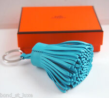 Authentic NEW Carmen Leather Pom Pom Key Ring Charm Bag Turquoise Blue