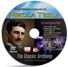 Nikola Tesla 325+ Book Library, Patents, Articles, Alternative Energy CD DVD B67