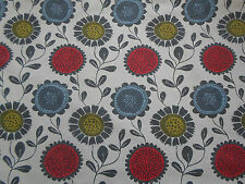Harlequin/Scion Curtain Fabric  'Anneke' 2 METRES Poppy/Kiwi/Charcoal - Linen