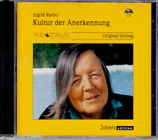 "CD - neu & ovp - "" Ingrid RIEDEL - Kultur der Anerkennung - Original-Vortrag """
