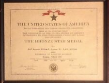 US Army Bronze Star Medal Award Certificate & WW2 1945