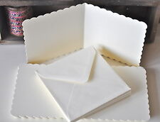 "50 Ivory 5""x5"" Scalloped Square Cards & Envelopes 270gsm  Wedding Invitation"