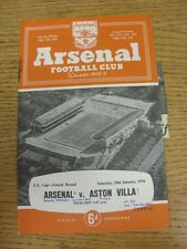 28/01/1956 Arsenal v Aston Villa [FA Cup] (Neat Match Details Noted On Cover/Ins