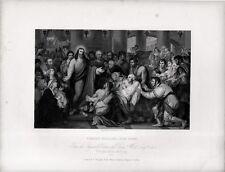 Stampa antica CRISTO GUARISCE L' AMMALATO religione vangelo 1840 Old print