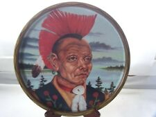 Vintage Indian Souvenir Metal Tray Red Mohawk