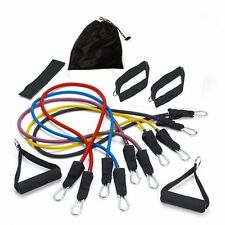 5 EXCERCISE RESISTANCE BANDS CORDS 75 LBS SET YOGA PILATES WORKOUT FITNESS