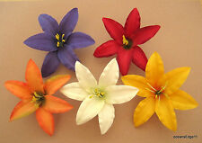 "Med 3.5"" Multi Lily Silk Flower Hair Clip 5 Piece Lot, Pin Up,Updo,Headband"