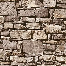 MURIVA DRY STONE WALL WALLPAPER NEUTRAL (J494-07) J49407 FEATURE WALL FREE P+P