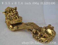 """Collectible Decorated Old Handwork Copper Carved Lion """"Ru Yi"""" Statue / Ornament"""
