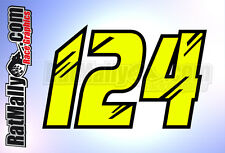 MOTO GP FLUO RACE NUMBERS - FLUORESCENT VINYL GRAPHICS - STICKERS x3 MotoGP