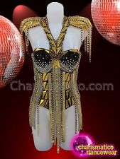 Diva gold corset with gold chains, solid gold cut outs and silver sequins