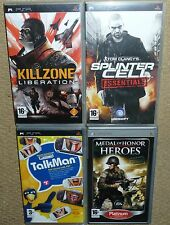 JOB LOT 4 x SONY PSP GAMES Killzone Liberation Splinter Cell Medal Honor TalkMan