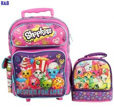 "Brand New Shopkins 16"" GIRLS KIDS LARGE ROLLING BACKPACK Plus LUNCH BAG 2PC SETS"