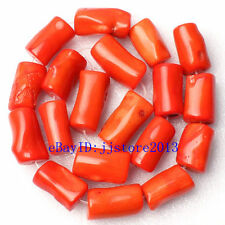Natural 12x20-13x22mm Orange Coral Column Shape Gemstone Loose Beads Strand 15""