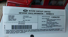 Land Rover Defender 110 NAS V8 3.9 1993- Engine Model ID Decal Sticker BTR6161