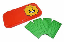 LEGO MiniFigure RED Storage Case with (4) Green 8x16 Base Plates NEW Plastic Box