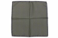 Battisti Pocket Square SALE! Grey with cream dot on navy, pure silk