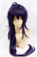 Mens Anime Magi Sinbad Purple Mix Long Straight Wavy Cosplay Wig Full Wigs