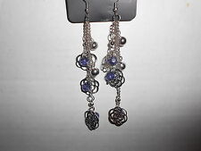 Paparazzi Earrings (new) DANGLING FLOWERS & CRYSTAL BLUE BEADS