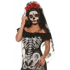 Day of The Dead Headpiece Sugar Skull Veil Dia de Los Muertos Costume Headband