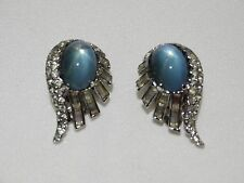 Vintage Jomaz Designer Signed Clip Earrings Blue Chalcedony Cabochon Rhinestones