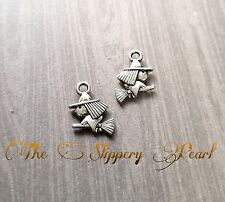 Witch Charms Pendants Halloween Charms Antiqued Silver 16mm 10 pieces