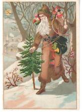ANTIQUE CHRISTMAS GREETING CARD SANTA CLAUS BROWN COAT WOODS TOYS TREE SNOW MOON