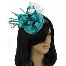 TEAL BLUE FASCINATOR HAIR FEATHER SATIN CLIP HAT FLOWER HATINATOR NM 102