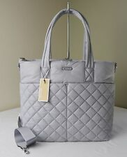 Michael Kors Dove Grey Quilted Nylon ROBERTS Large Gym Tote Travel Bag