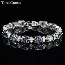 Silver Rainbow Topaz & White Topaz 11ct Tennis Bracelet adjustable 7-8 Inch