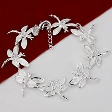 UK New Silver Plated Dragonfly Detail Bracelet Bangle Women Fashion (050)