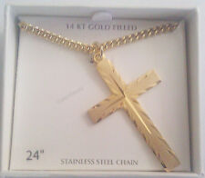 "NEW- Men's 14K Gold Cross Cut Pendant With 24"" Necklace Chain-FREE SHIPPING"