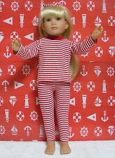 Fits 18 Inch Kidz n Cats Doll . Red&White Long Sleeve 2 Pc. Leggings Outfit-D353