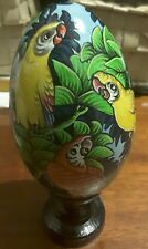Bali Hand Painted Wooden Egg with Stand and Box # MACAW/COCKATOO 2 #FAST POST