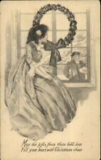 Christmas - Victorian Woman Watches Husband From Window c1910 Postcard