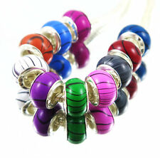100PCS mix Wood Grain Acrylic Bead silver core Fit European Bracelet TM16