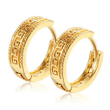 Womens Yellow Gold Filled Mystaic Punk Vintage Hoop Earrings Hollow earings Mens