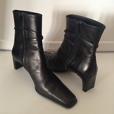 "Salamander France EUR 40 US 10 Black Leather Stacked 2"" Heel Ankle Boots"