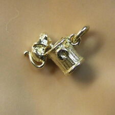 9ct gold new  moveable cat on a dustbin charm