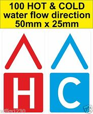 100 x HOT & COLD water flow direction Warning Safety Labels sticker decals
