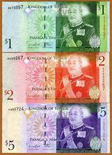 SET Tonga, 1;2;5 Pa'anga, ND (2008; 2014), Pick 37;38;39 New Signature, UNC