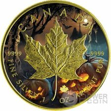 HALLOWEEN MAPLE LEAF 1 Oz Silver Coin 5$ Canada 2016